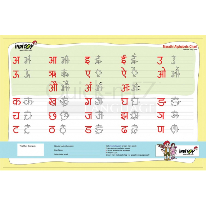Quick-n-EZ, Marathi Alphabet Practice Charts with Arrows and